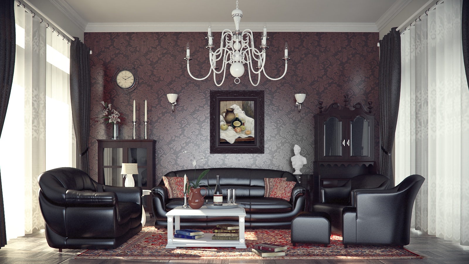 classic style chandelier and wallpaper pattern are made modern
