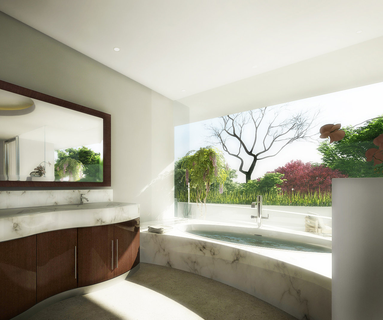 Panoramic view garden marble bathroom for View bathroom designs