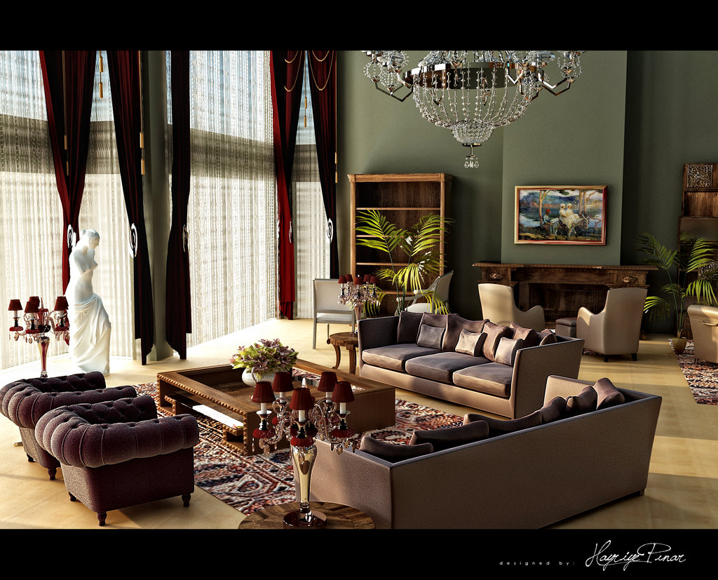 Contemporary earth tones dominate this classically designed room by ...