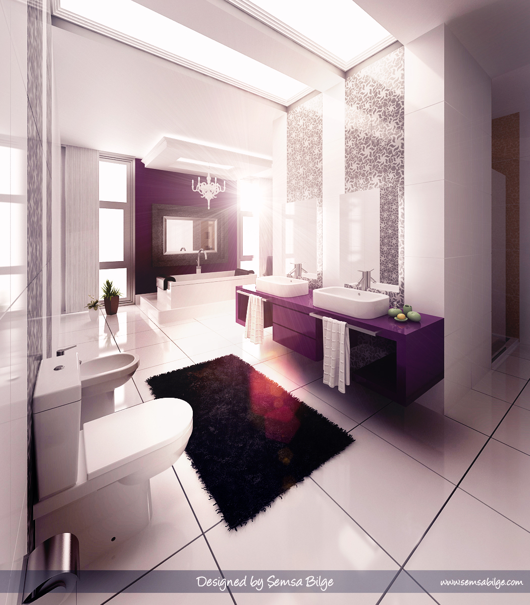 Purple bathroom wallpaper