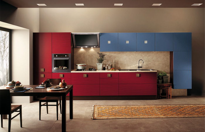 scavolini Red and Blue warm Kitchen Design
