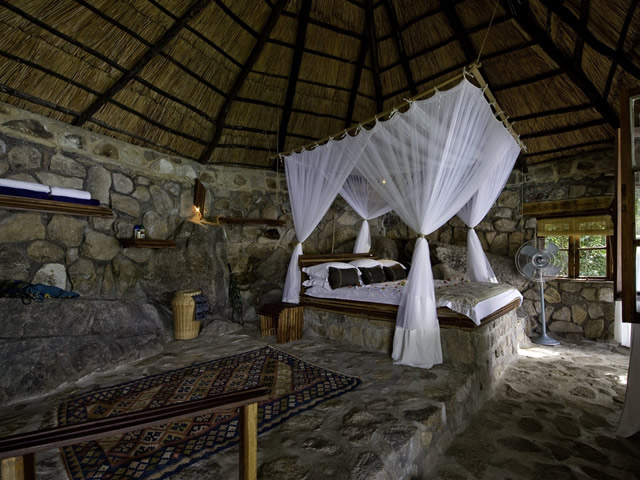 Cottage Interiors Stone Walls Canopy Bed