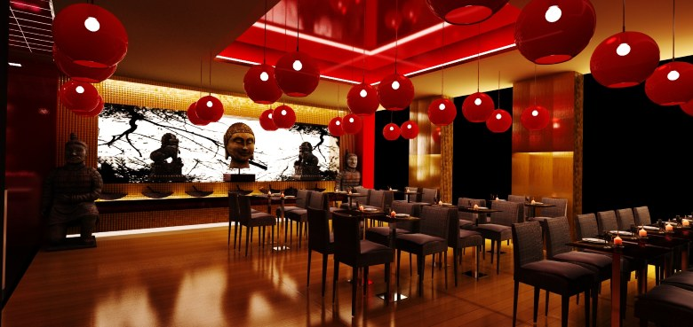 Bar and restaurant design for Asian cuisine restaurant