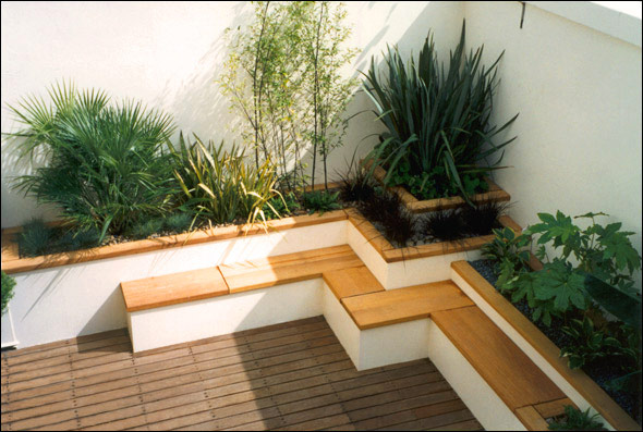 Japanese style roof terrace garden bamboo seating