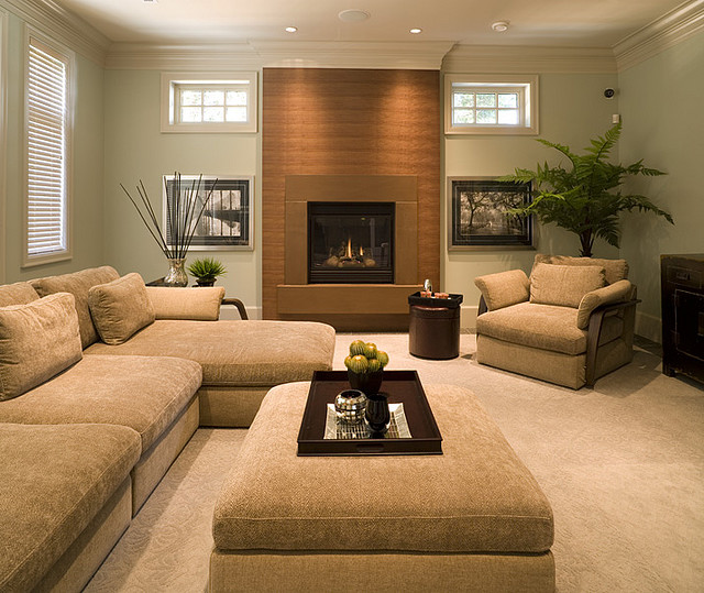 Fireplace mantels and surrounds Earth tone living room decorating ideas