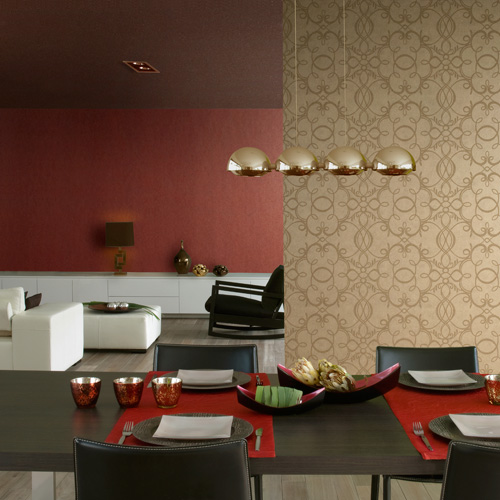 Modern wallpaper for your room walls for Red wallpaper designs for living room