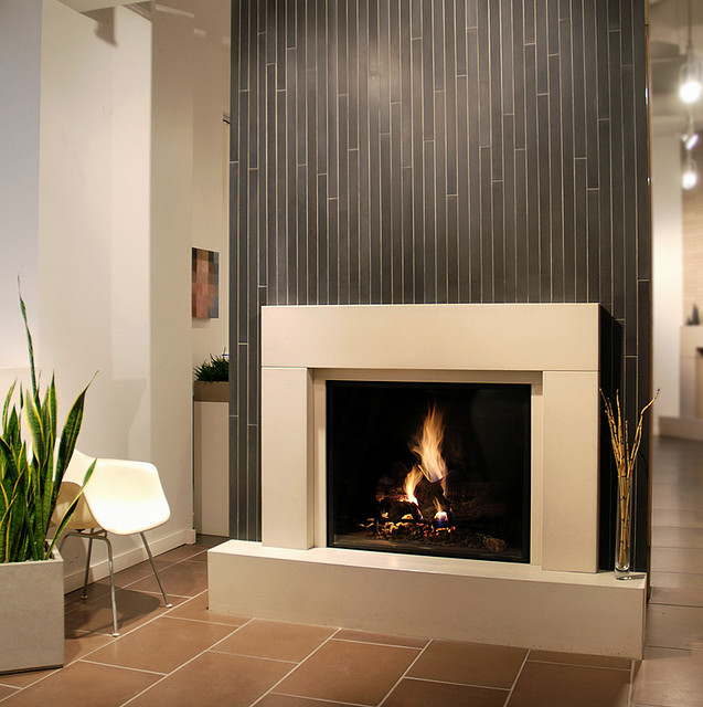 modern fireplace cast concrete tiles western theme