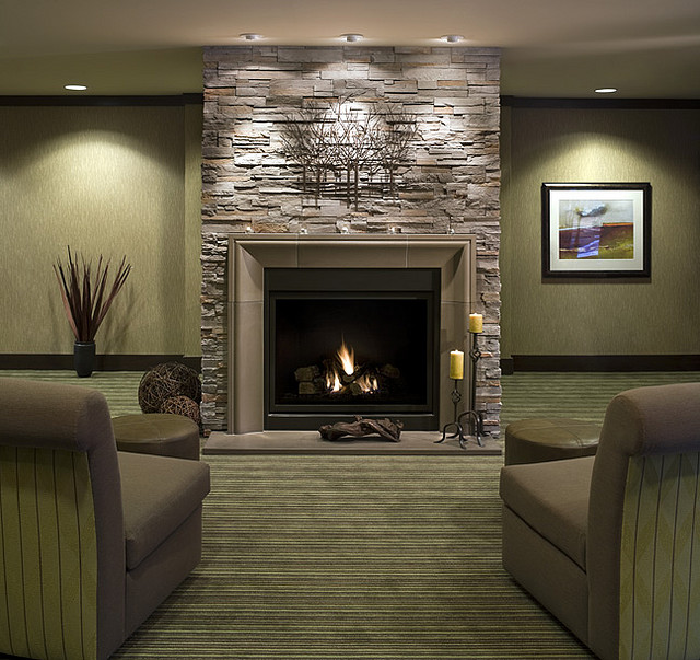 Design Fireplace Wall modern interior design showcasing a corner fireplace 3
