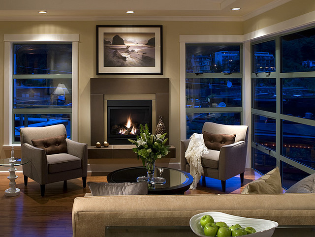 Fireplace mantels and surrounds Modern living room with fireplace