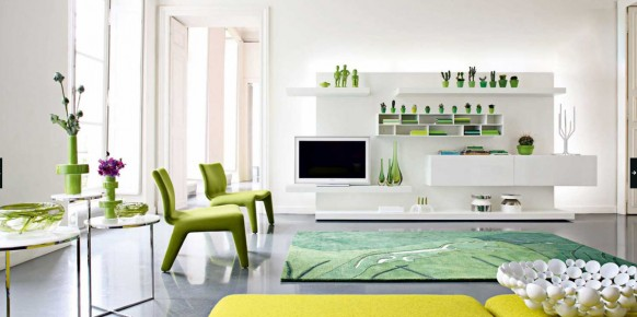 green white modern living room