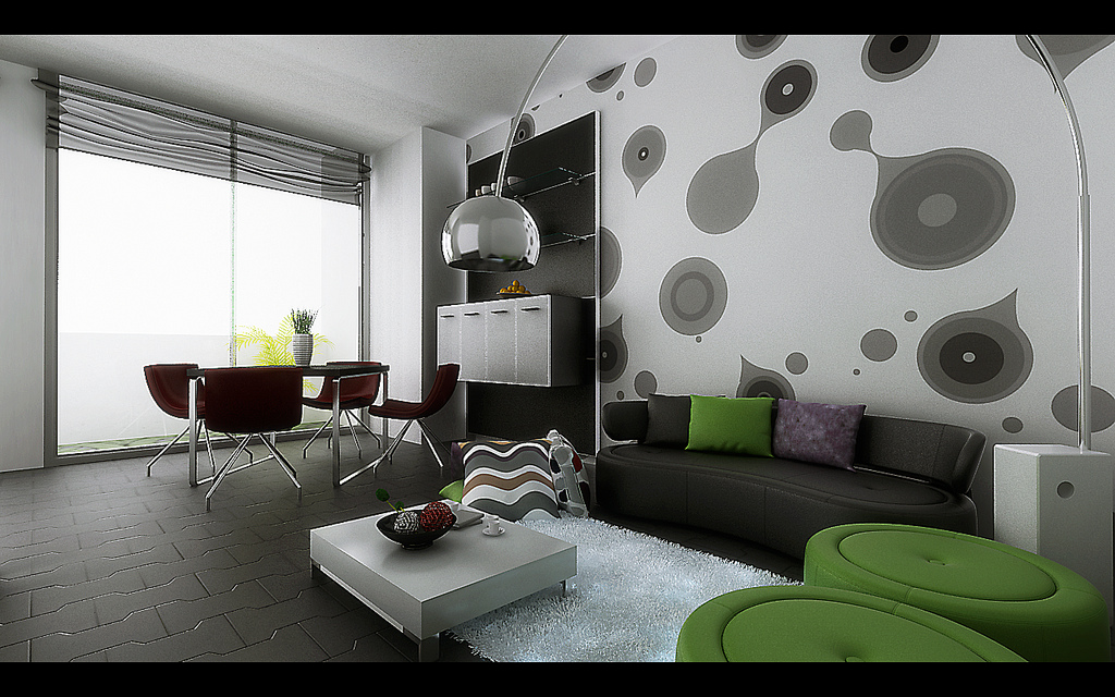 this graphic accent wall is funky but not overpowering