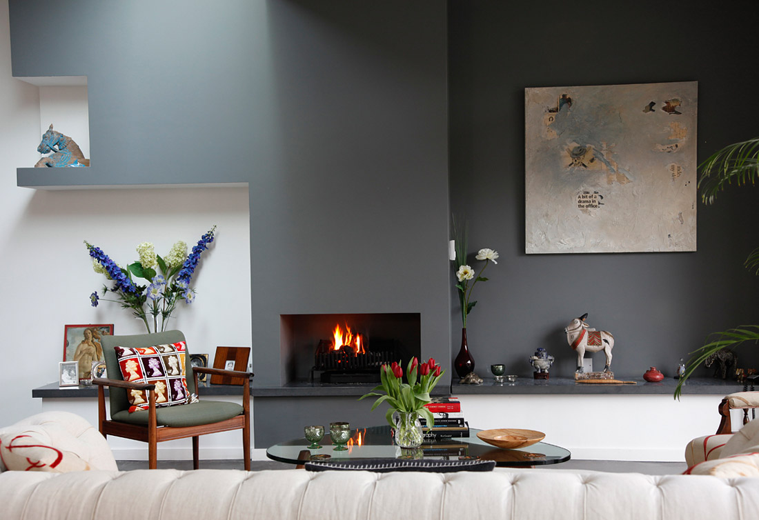 This Blue Slate Accent Color Does Wonders For The Fireplace Wall