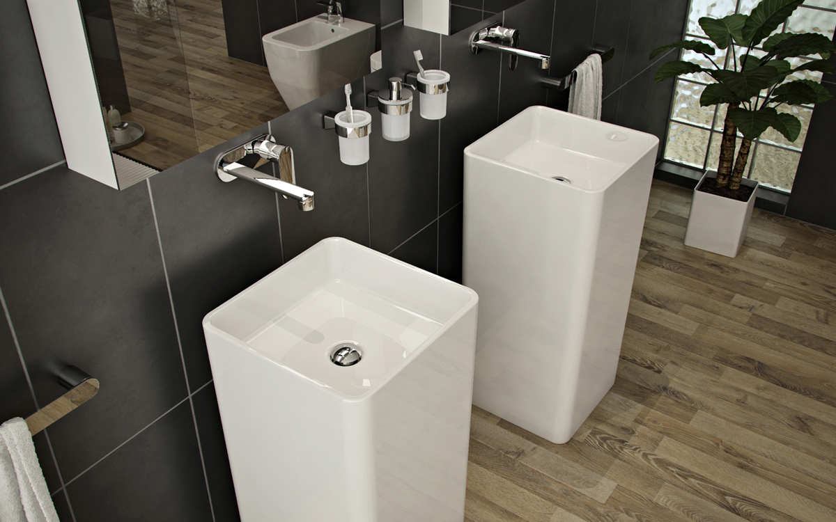 Bathrooms a l 39 abode for Bathroom sink designs