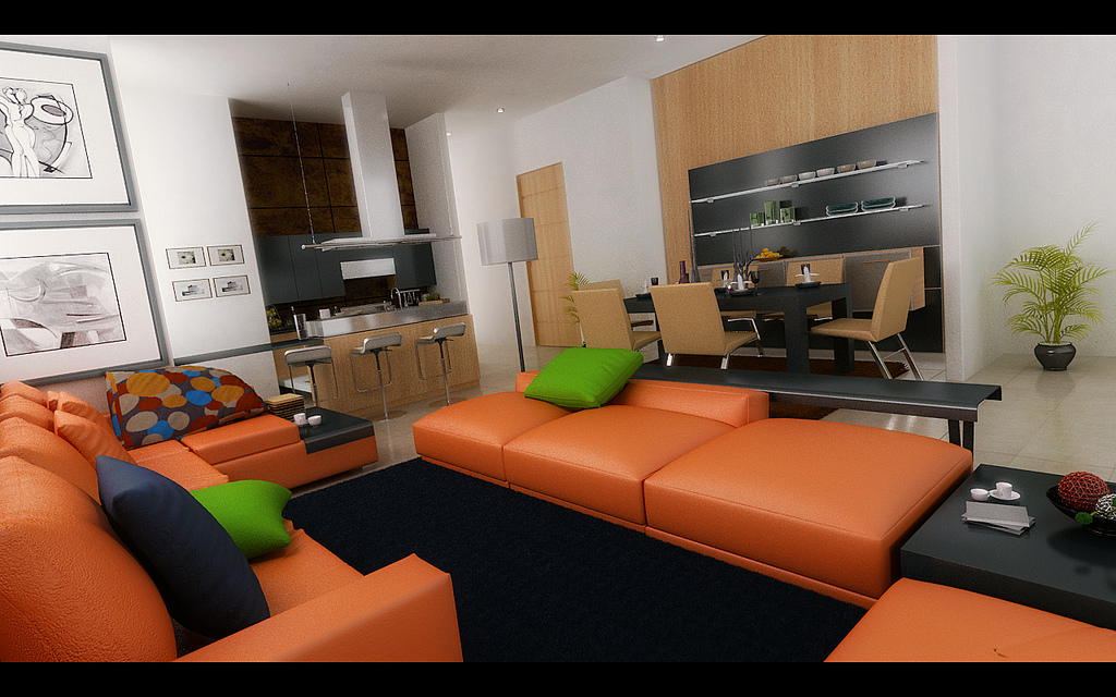 modern living room orange sofas open space plan
