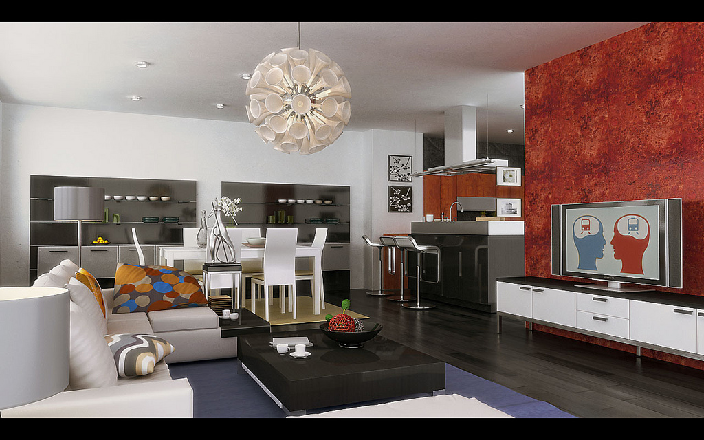 Living cum dining inspiration for Modern living room red