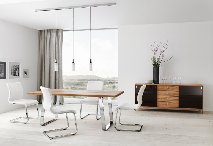 Modern dining table Chrome white chairs track lighting