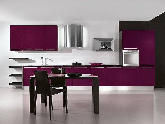 Purple kitchens for Puertas correderas interiores castorama