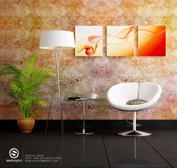 textured wallpaper modern orange sitting area