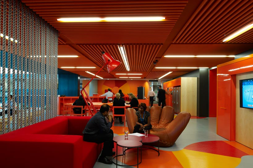 anz business centre creative colourful office spaces red