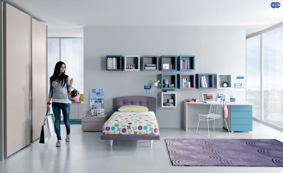 aqua lavender white contemporary teenagers room