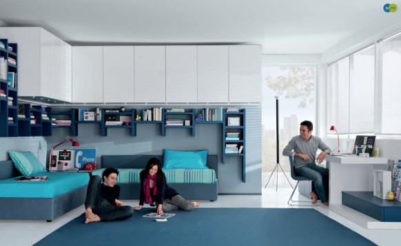 aqua white Contemporary Teenagers Room