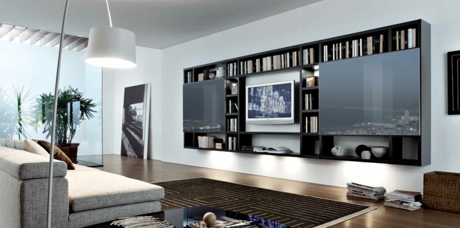 black brown white contemporary living spaces built ins