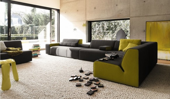 black green sofa