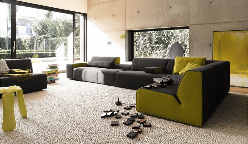 Awesome black green sofa
