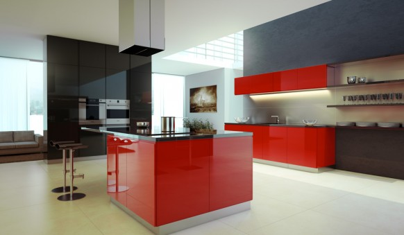 black red kitchen
