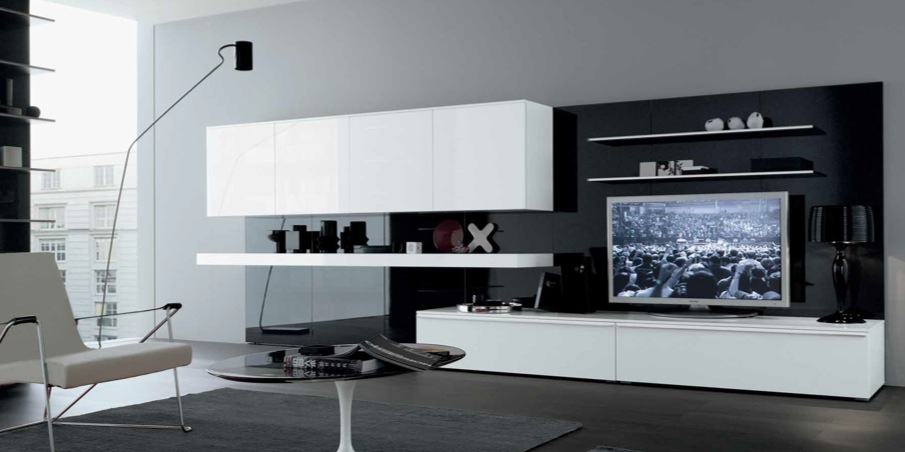 18 modern style living rooms from misuraemme White and black modern living room