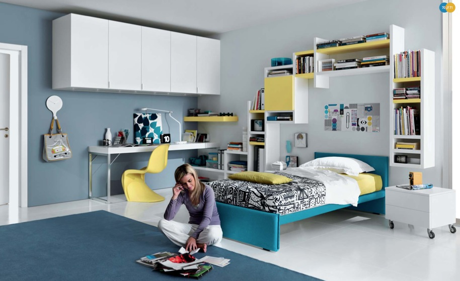 blue yellow white contemporary teenagers room