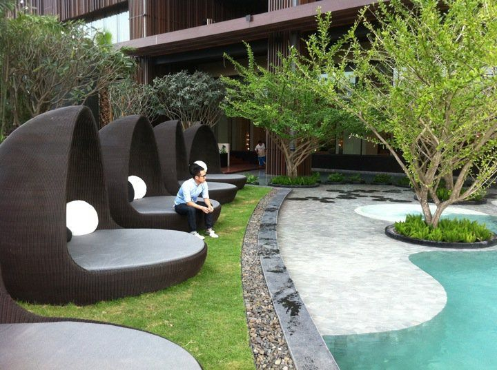 ... Garden Design With Landscaping Inspiration: Hilton Hotel, Pattaya,  Thailand With Fire Pit Landscaping