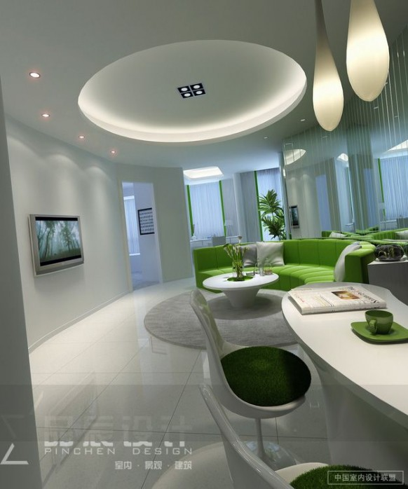 circular lounge modern lighting lime green white