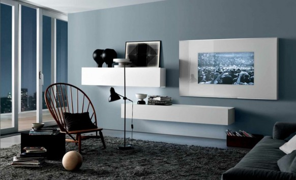 cool blue grey white contemporary living spaces built ins