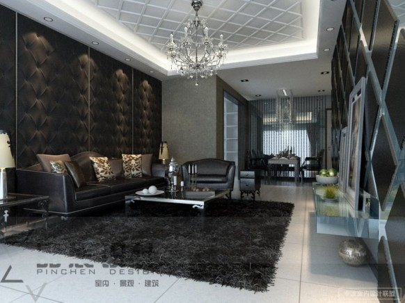 dark Living room feature walls textures chandelier