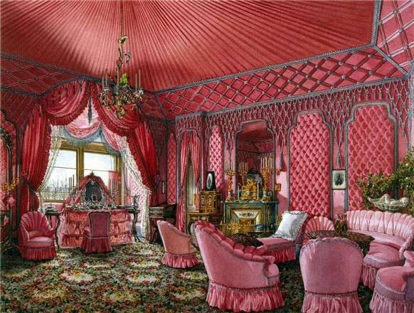 feminine opulent russian palace fabric pink room