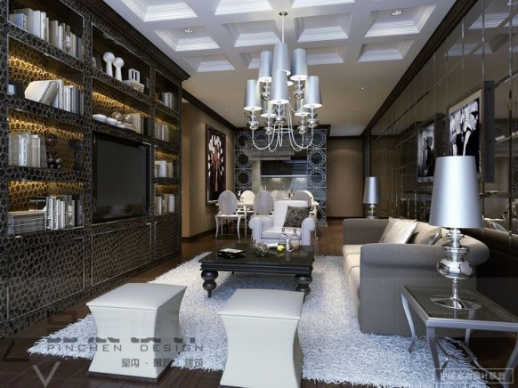 glamorous living room shelving storage chandelier