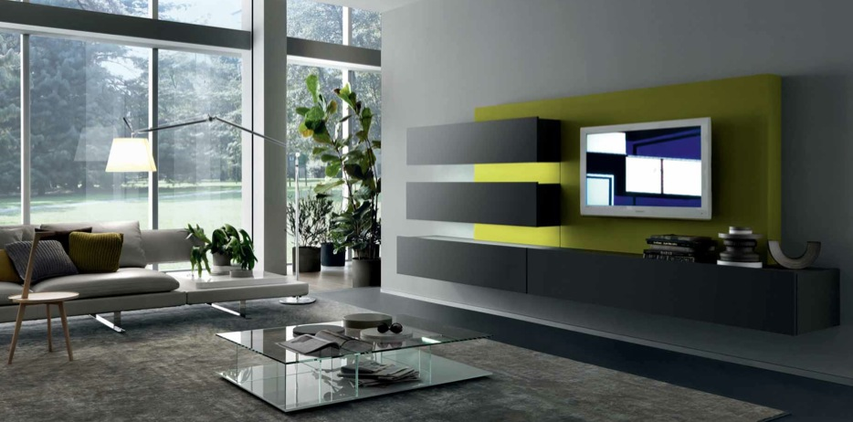 18 modern style living rooms from misuraemme for Wall mounted tv designs living room