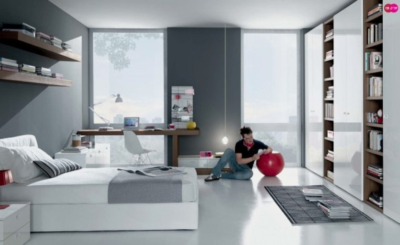 grey white Contemporary Teenagers Room