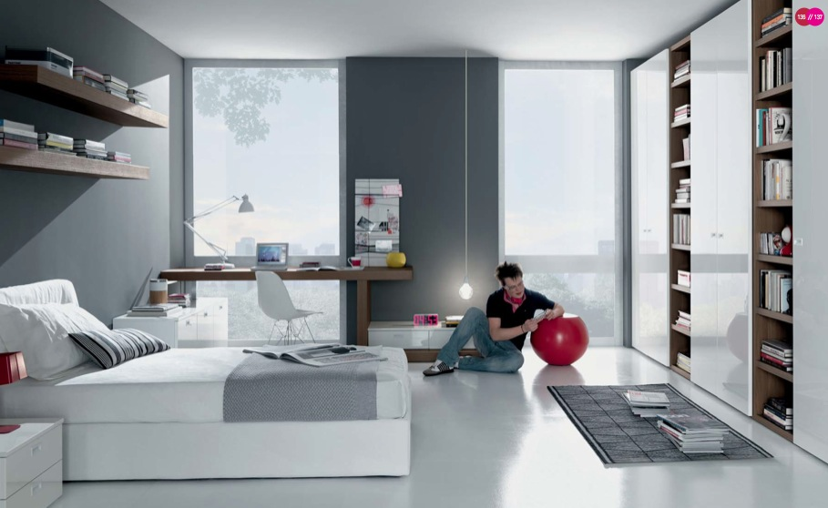 grey white contemporary teenagers room - Teenagers Room Decoration