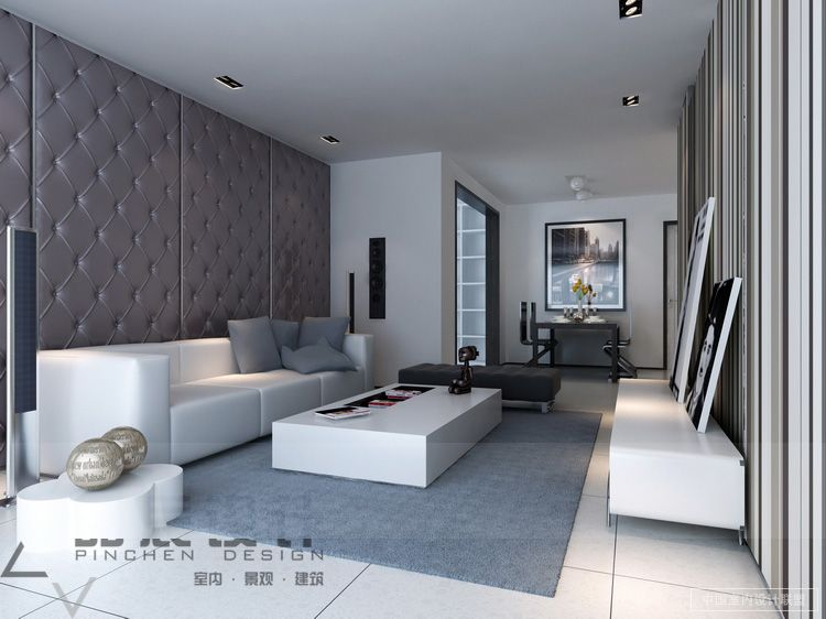 Promoteinterior modern living rooms from the far east for Padded wall wallpaper