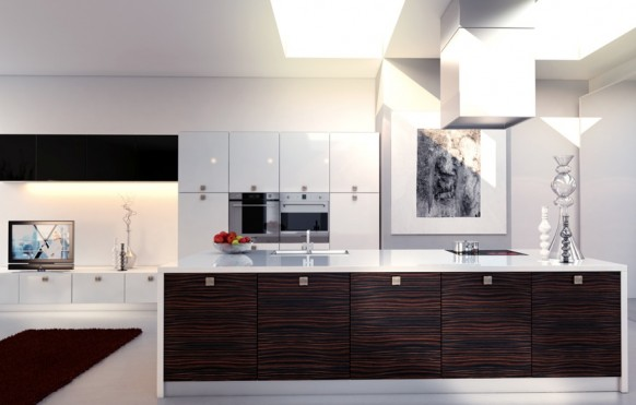 modern white kitchen wood