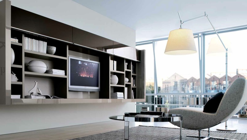 18 modern style living rooms from misuraemme for Modern built in cupboards