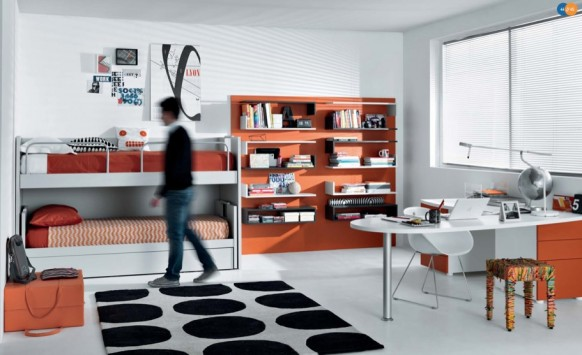 orange black white Contemporary Teenagers Room