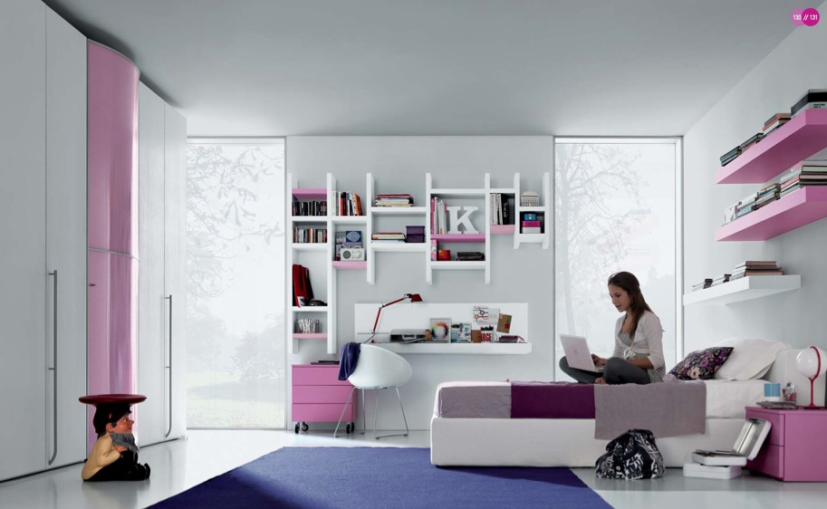 Pink Purple White Contemporary Teenagers Room