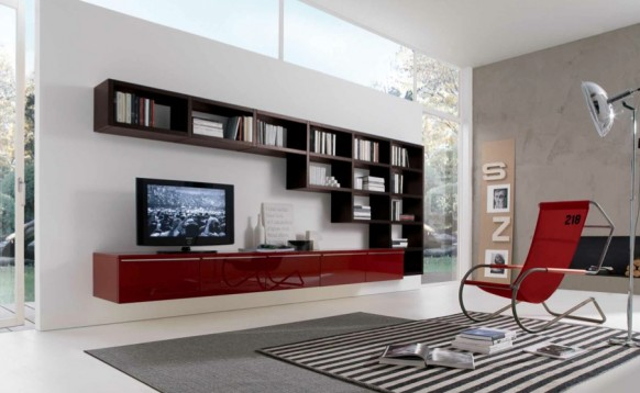 red white brown contemporary living spaces built ins