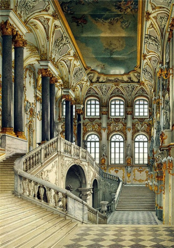 stairway grand opulent russian palace painted ceiling