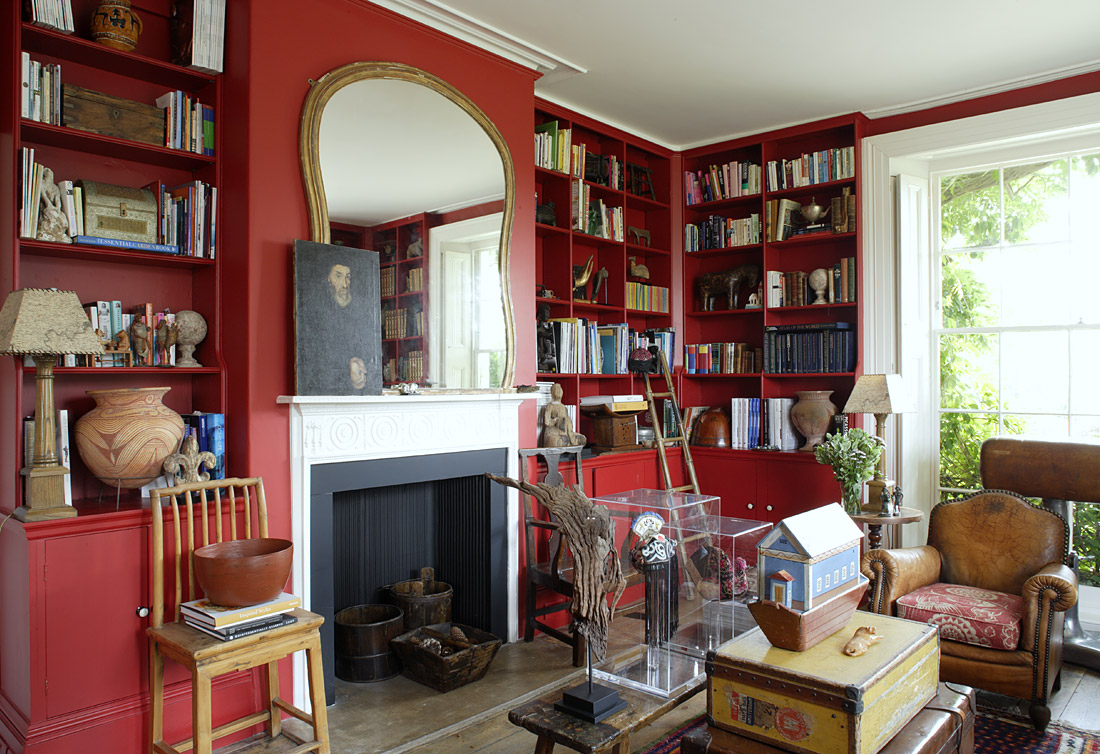 the geeky red study room