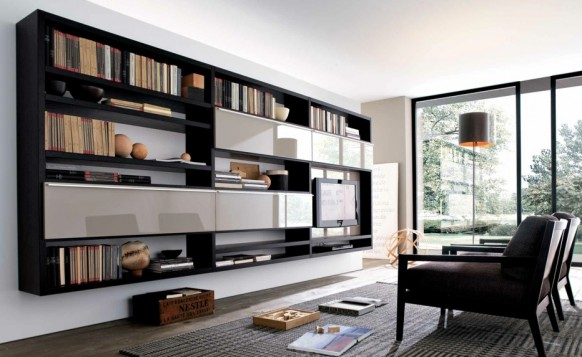 timber white contemporary living spaces built ins