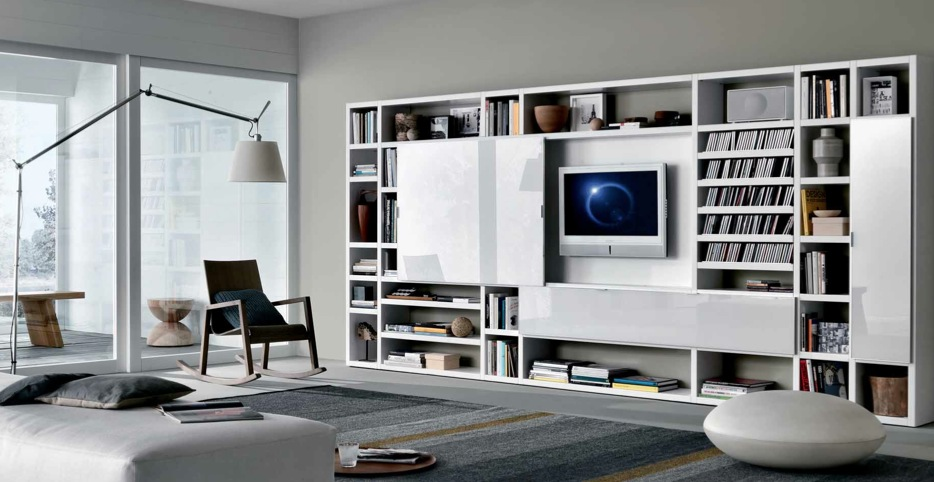 White Contemporary Living Spaces Built Ins